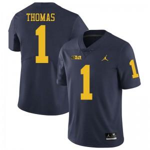 Michigan Wolverines #1 Ambry Thomas Men's Navy College Football Jersey 530130-400