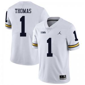 Michigan Wolverines #1 Ambry Thomas Men's White College Football Jersey 935130-428