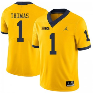 Michigan Wolverines #1 Ambry Thomas Men's Yellow College Football Jersey 213558-319