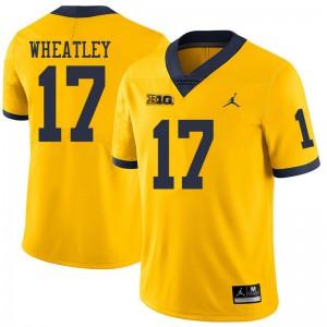 Michigan Wolverines #17 Tyrone Wheatley Men's Yellow College Football Jersey 769490-949