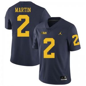 Michigan Wolverines #2 Oliver Martin Men's Navy College Football Jersey 696855-408