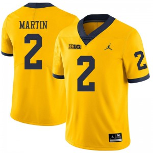 Michigan Wolverines #2 Oliver Martin Men's Yellow College Football Jersey 315369-806