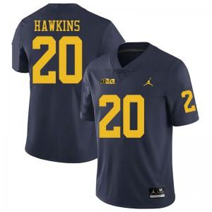 Michigan Wolverines #20 Brad Hawkins Men's Navy College Football Jersey 822149-827