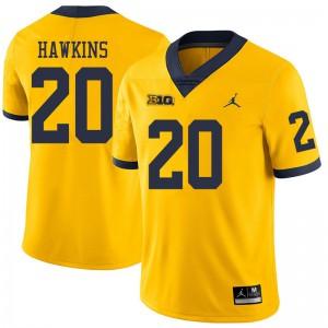 Michigan Wolverines #20 Brad Hawkins Men's Yellow College Football Jersey 630709-462