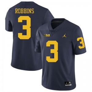 Michigan Wolverines #3 Brad Robbins Men's Navy College Football Jersey 688524-793