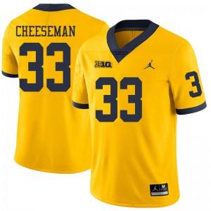 Michigan Wolverines #33 Camaron Cheeseman Men's Yellow College Football Jersey 977364-917