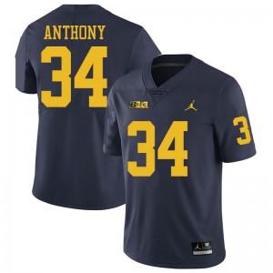 Michigan Wolverines #34 Jordan Anthony Men's Navy College Football Jersey 504934-958