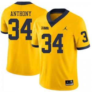 Michigan Wolverines #34 Jordan Anthony Men's Yellow College Football Jersey 838262-739
