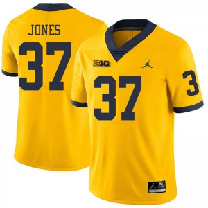 Michigan Wolverines #37 Bradford Jones Men's Yellow College Football Jersey 363914-929