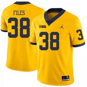 Michigan Wolverines #38 Joseph Files Men's Yellow College Football Jersey 319735-214