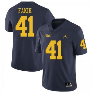 Michigan Wolverines #41 Adam Fakih Men's Navy College Football Jersey 715163-480