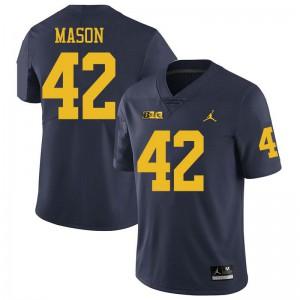 Michigan Wolverines #42 Ben Mason Men's Navy College Football Jersey 212435-772