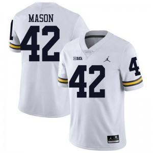 Michigan Wolverines #42 Ben Mason Men's White College Football Jersey 918157-485