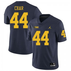 Michigan Wolverines #44 Jared Char Men's Navy College Football Jersey 541337-305
