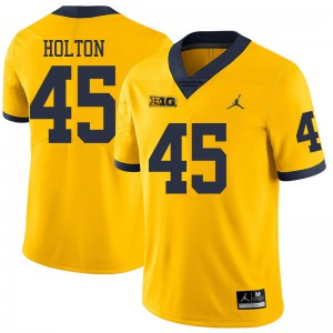 Michigan Wolverines #45 William Holton Men's Yellow College Football Jersey 715126-356