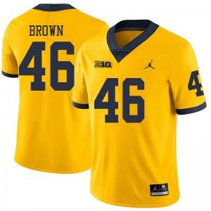 Michigan Wolverines #46 Matt Brown Men's Yellow College Football Jersey 365421-927