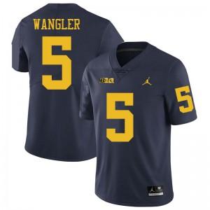 Michigan Wolverines #5 Jared Wangler Men's Navy College Football Jersey 947455-329