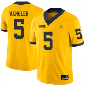 Michigan Wolverines #5 Jared Wangler Men's Yellow College Football Jersey 137874-243