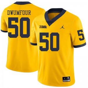 Michigan Wolverines #50 Michael Dwumfour Men's Yellow College Football Jersey 693198-212