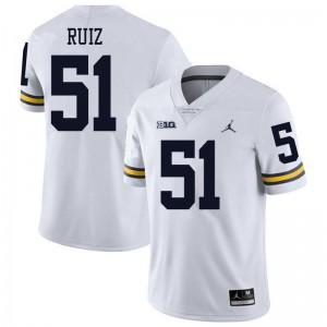 Michigan Wolverines #51 Cesar Ruiz Men's White College Football Jersey 572946-391