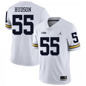 Michigan Wolverines #55 James Hudson Men's White College Football Jersey 846989-237
