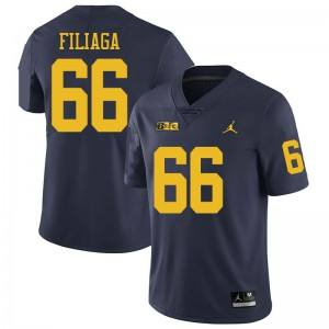 Michigan Wolverines #66 Chuck Filiaga Men's Navy College Football Jersey 727020-453
