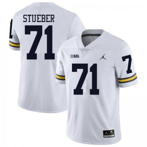 Michigan Wolverines #71 Andrew Stueber Men's White College Football Jersey 784760-600