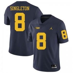 Michigan Wolverines #8 Drew Singleton Men's Navy College Football Jersey 494981-272