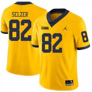 Michigan Wolverines #82 Carter Selzer Men's Yellow College Football Jersey 655665-524