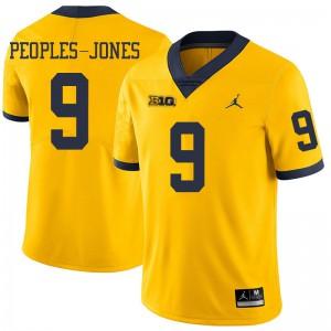 Michigan Wolverines #9 Donovan Peoples-Jones Men's Yellow College Football Jersey 741376-946