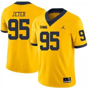 Michigan Wolverines #95 Donovan Jeter Men's Yellow College Football Jersey 415791-484