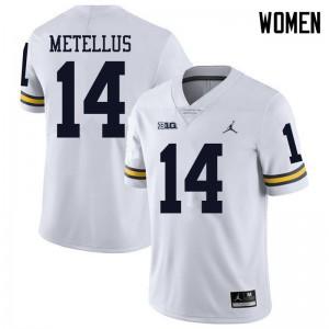 Michigan Wolverines #14 Josh Metellus Women's White College Football Jersey 503007-664