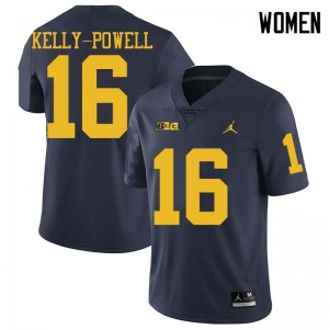 Michigan Wolverines #16 Jaylen Kelly-Powell Women's Navy College Football Jersey 393691-508