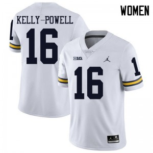 Michigan Wolverines #16 Jaylen Kelly-Powell Women's White College Football Jersey 886923-485