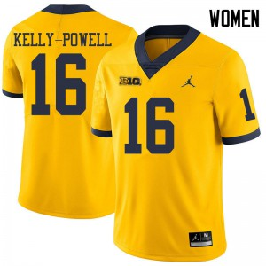 Michigan Wolverines #16 Jaylen Kelly-Powell Women's Yellow College Football Jersey 825802-443