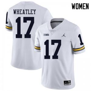 Michigan Wolverines #17 Tyrone Wheatley Women's White College Football Jersey 808906-510