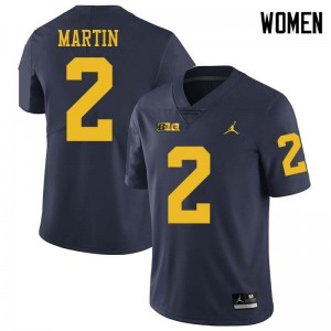 Michigan Wolverines #2 Oliver Martin Women's Navy College Football Jersey 598486-426