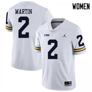 Michigan Wolverines #2 Oliver Martin Women's White College Football Jersey 930147-997