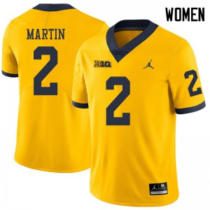 Michigan Wolverines #2 Oliver Martin Women's Yellow College Football Jersey 370661-620