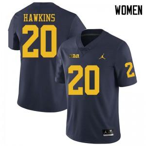 Michigan Wolverines #20 Brad Hawkins Women's Navy College Football Jersey 908135-826