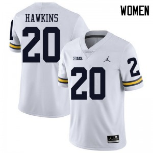 Michigan Wolverines #20 Brad Hawkins Women's White College Football Jersey 910140-949