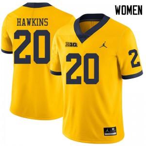 Michigan Wolverines #20 Brad Hawkins Women's Yellow College Football Jersey 363930-120