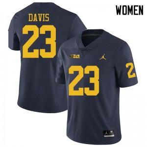Michigan Wolverines #23 Jared Davis Women's Navy College Football Jersey 247493-194