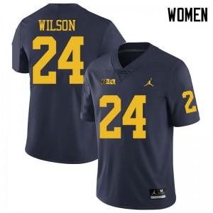 Michigan Wolverines #24 Tru Wilson Women's Navy College Football Jersey 440823-620