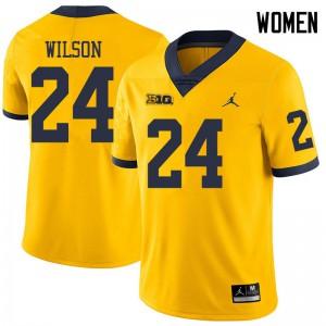 Michigan Wolverines #24 Tru Wilson Women's Yellow College Football Jersey 934190-890