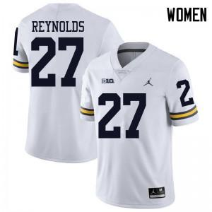 Michigan Wolverines #27 Hunter Reynolds Women's White College Football Jersey 889803-333
