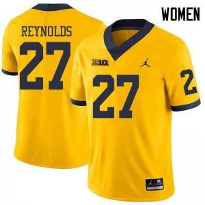 Michigan Wolverines #27 Hunter Reynolds Women's Yellow College Football Jersey 885896-239