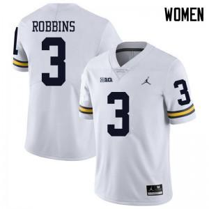 Michigan Wolverines #3 Brad Robbins Women's White College Football Jersey 463217-936