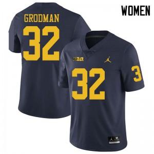 Michigan Wolverines #32 Louis Grodman Women's Navy College Football Jersey 790589-837