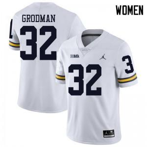 Michigan Wolverines #32 Louis Grodman Women's White College Football Jersey 668897-337